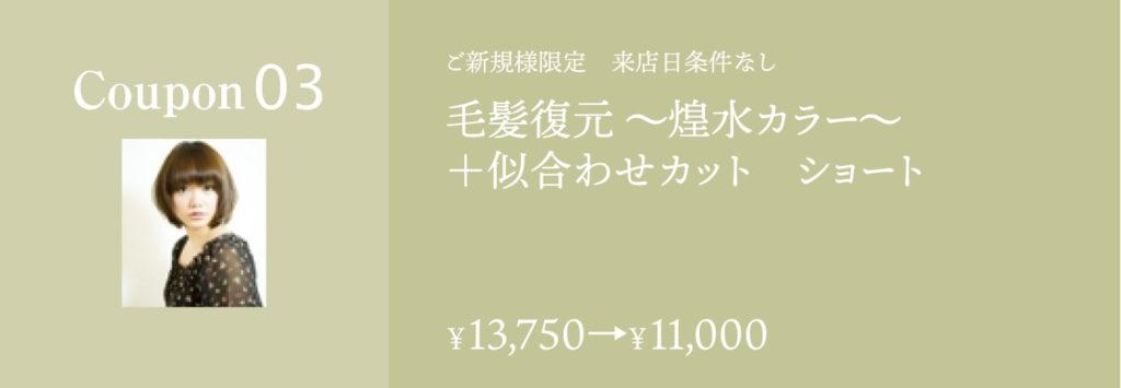 毛髪復元 煌水カラー+似合わせカットショート 13750円→11000円